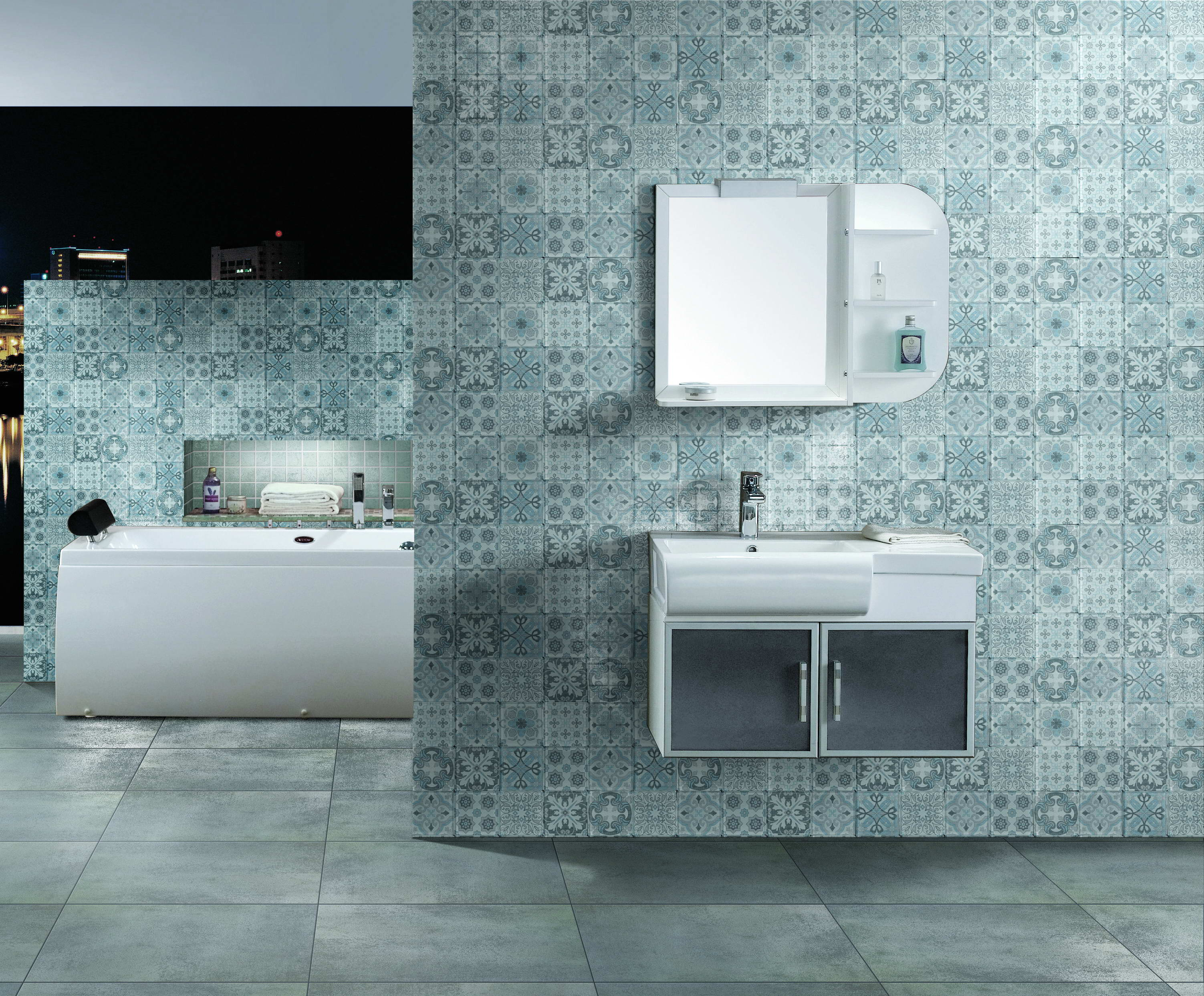Try Cement Style Glass Mosaic Tile With Easy Clean Technology, New ...