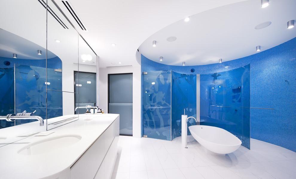 Elegant Blue Mosaic Bathroom Tiles Design From Foshan Imark Building ...